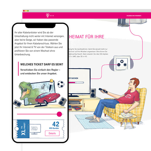 Telekom illustrated Landingpage